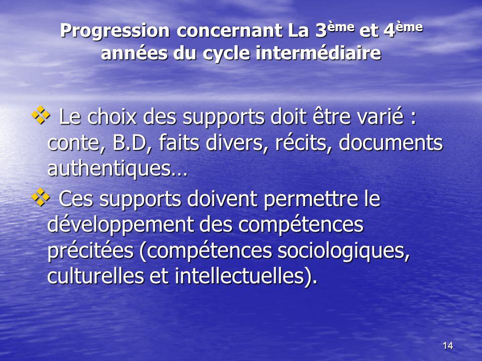 Progression concernant La 3ème et 4ème années du cycle intermédiaire