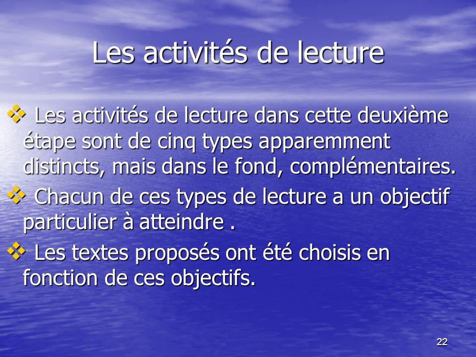 Les activités de lecture