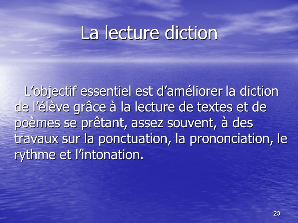 La lecture diction