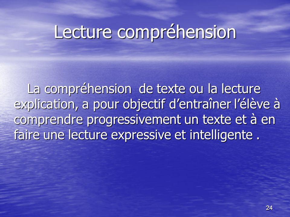 Lecture compréhension