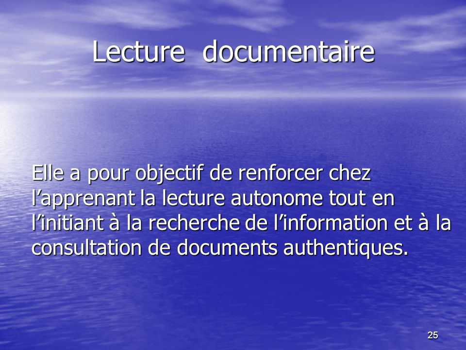 Lecture documentaire