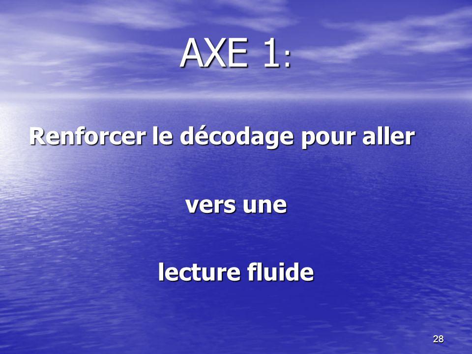 AXE 1: Renforcer le décodage pour aller vers une lecture fluide