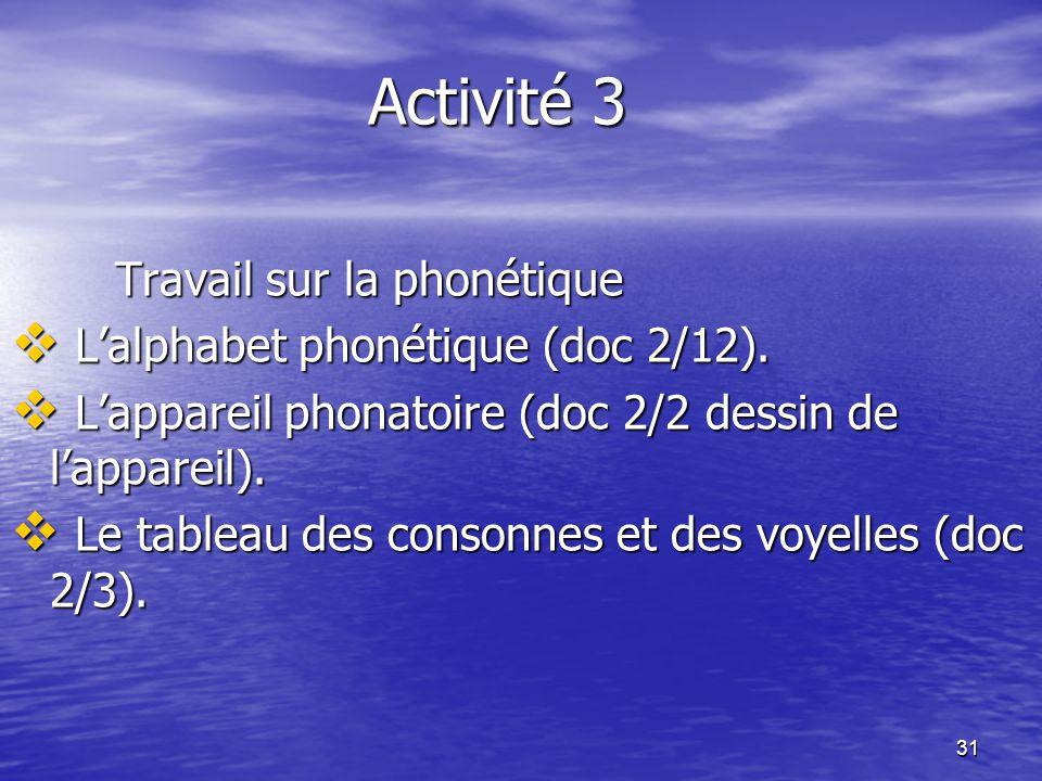 Activité 3 Travail sur la phonétique L'alphabet phonétique (doc 2/12).