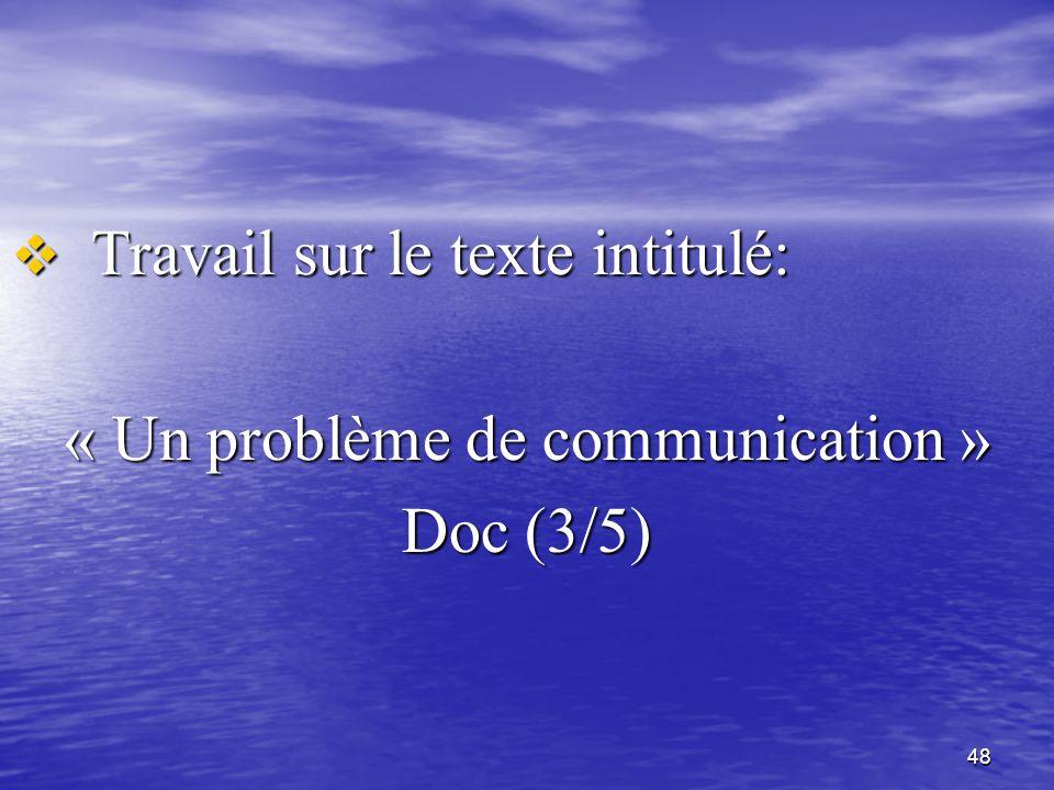 « Un problème de communication »
