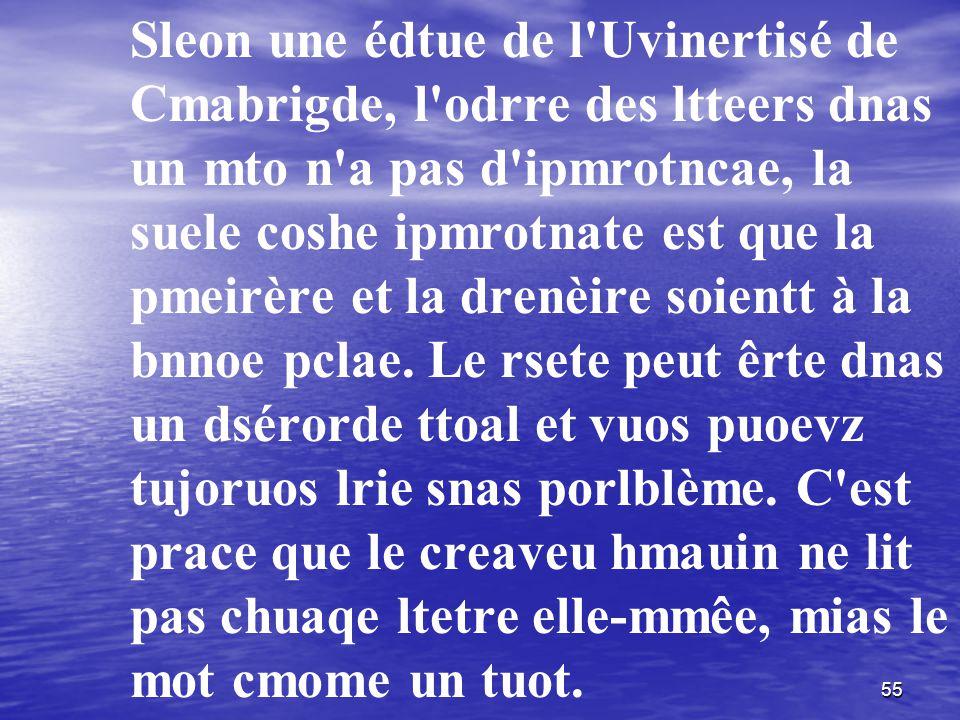 Sleon une édtue de l Uvinertisé de Cmabrigde, l odrre des ltteers dnas un mto n a pas d ipmrotncae, la suele coshe ipmrotnate est que la pmeirère et la drenèire soientt à la bnnoe pclae.