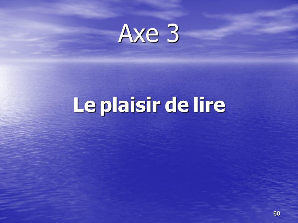 Axe 3 Le plaisir de lire