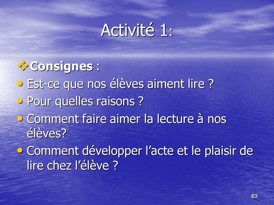 Activité 1: Consignes : Est-ce que nos élèves aiment lire