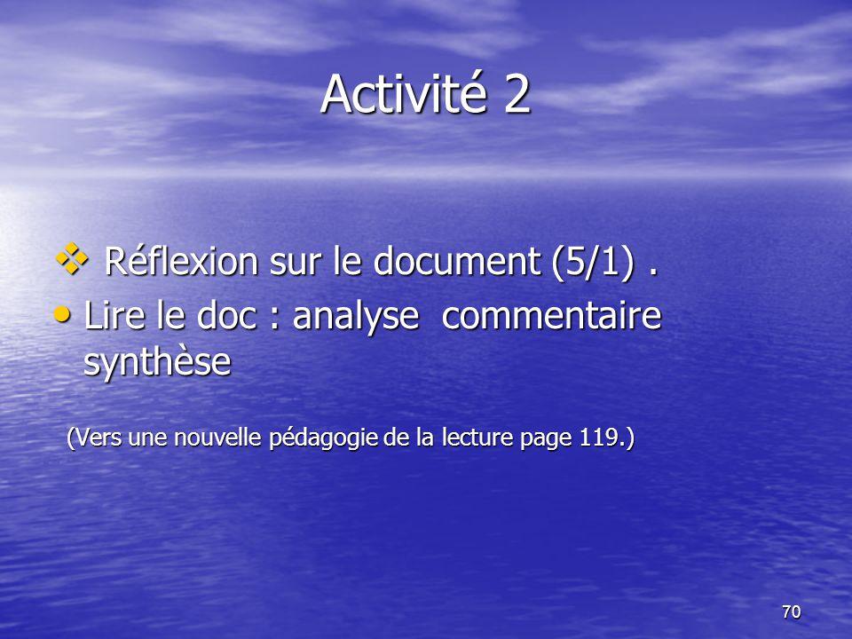 Activité 2 Réflexion sur le document (5/1) .