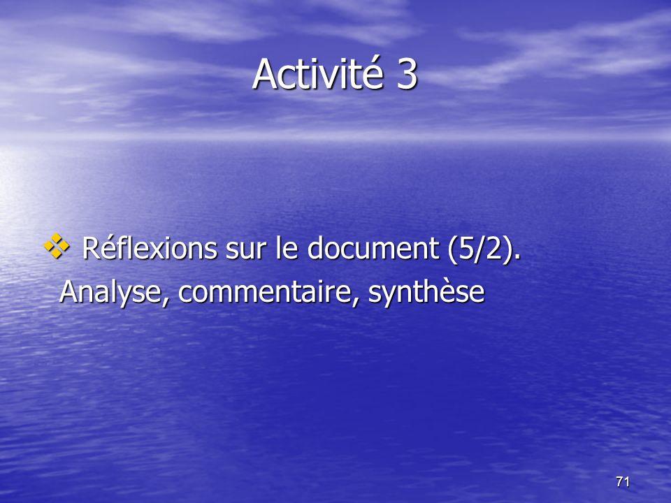 Activité 3 Réflexions sur le document (5/2).