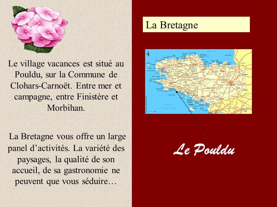 Le village vacances est situé au Pouldu, sur la Commune de Clohars-Carnoët. Entre mer et campagne, entre Finistère et Morbihan. La Bretagne vous offre un large panel d'activités. La variété des paysages, la qualité de son accueil, de sa gastronomie ne peuvent que vous séduire…