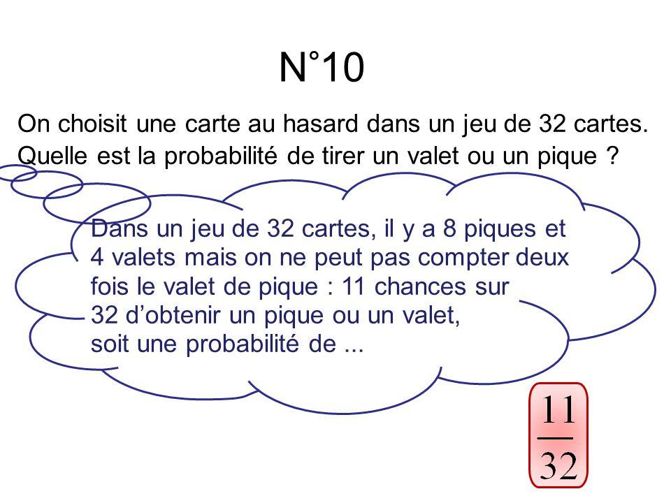 N°10 On choisit une carte au hasard dans un jeu de 32 cartes.