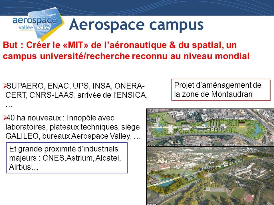 Aerospace campus But : Créer le «MIT» de l'aéronautique & du spatial, un campus université/recherche reconnu au niveau mondial.