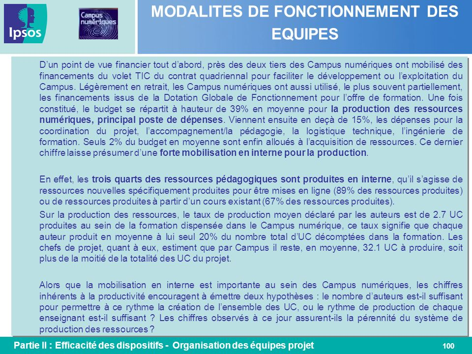 MODALITES DE FONCTIONNEMENT DES EQUIPES