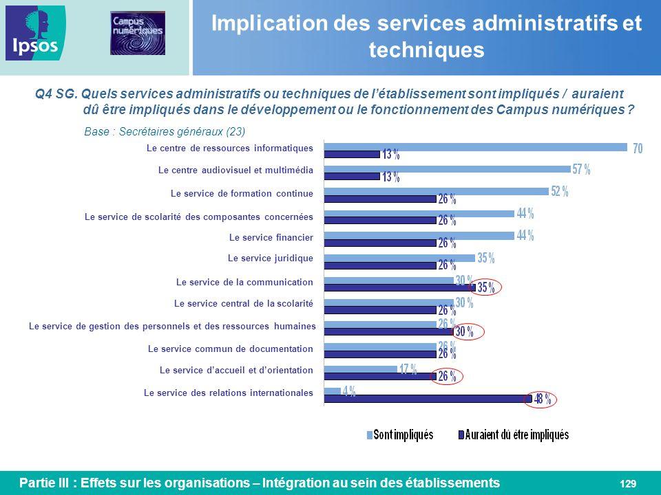 Implication des services administratifs et techniques