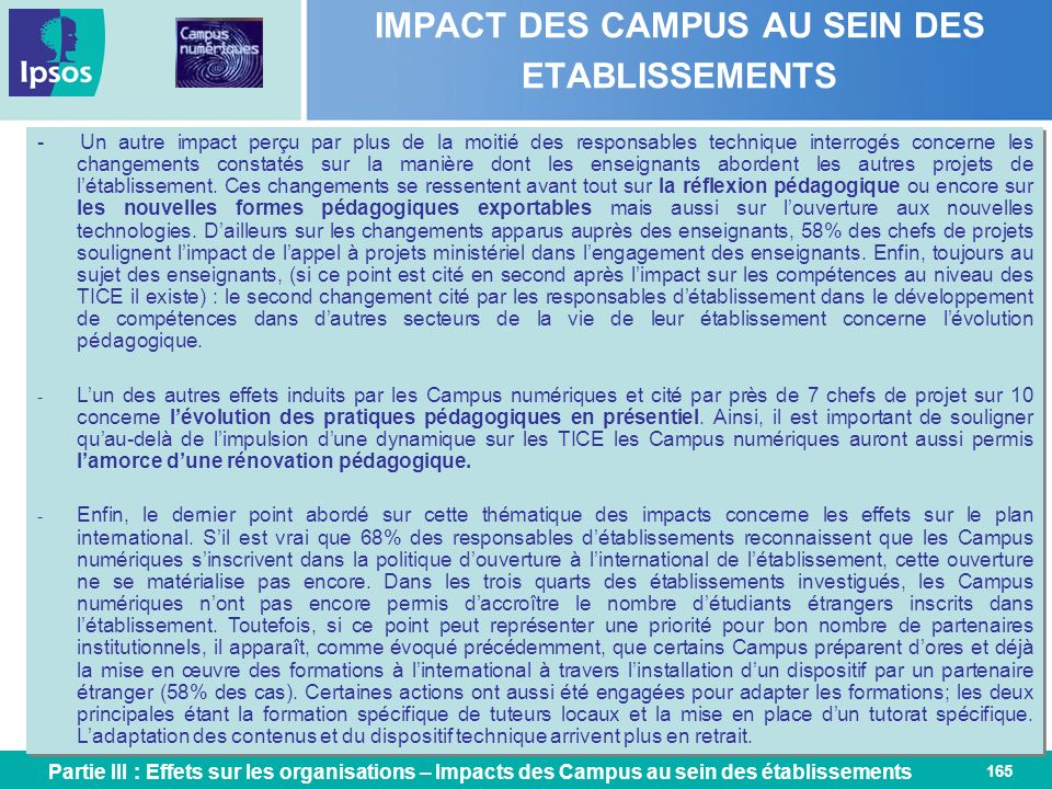 IMPACT DES CAMPUS AU SEIN DES ETABLISSEMENTS