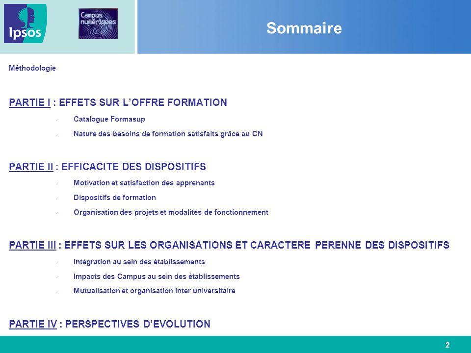 Sommaire PARTIE I : EFFETS SUR L'OFFRE FORMATION