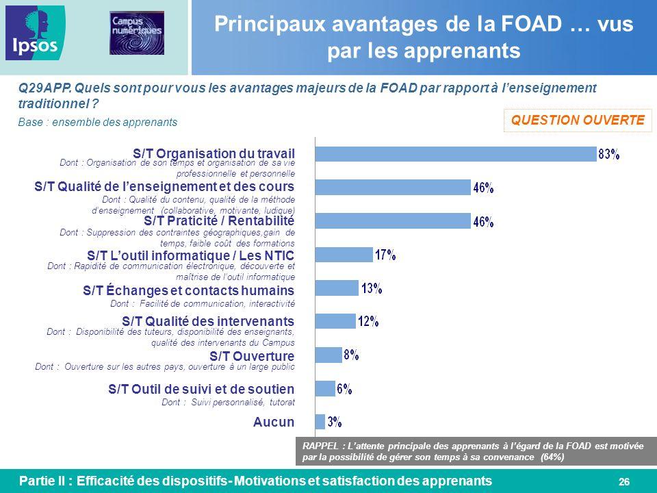 Principaux avantages de la FOAD … vus par les apprenants