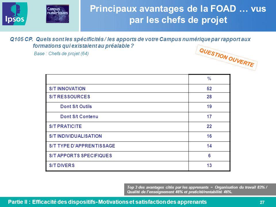 Principaux avantages de la FOAD … vus par les chefs de projet