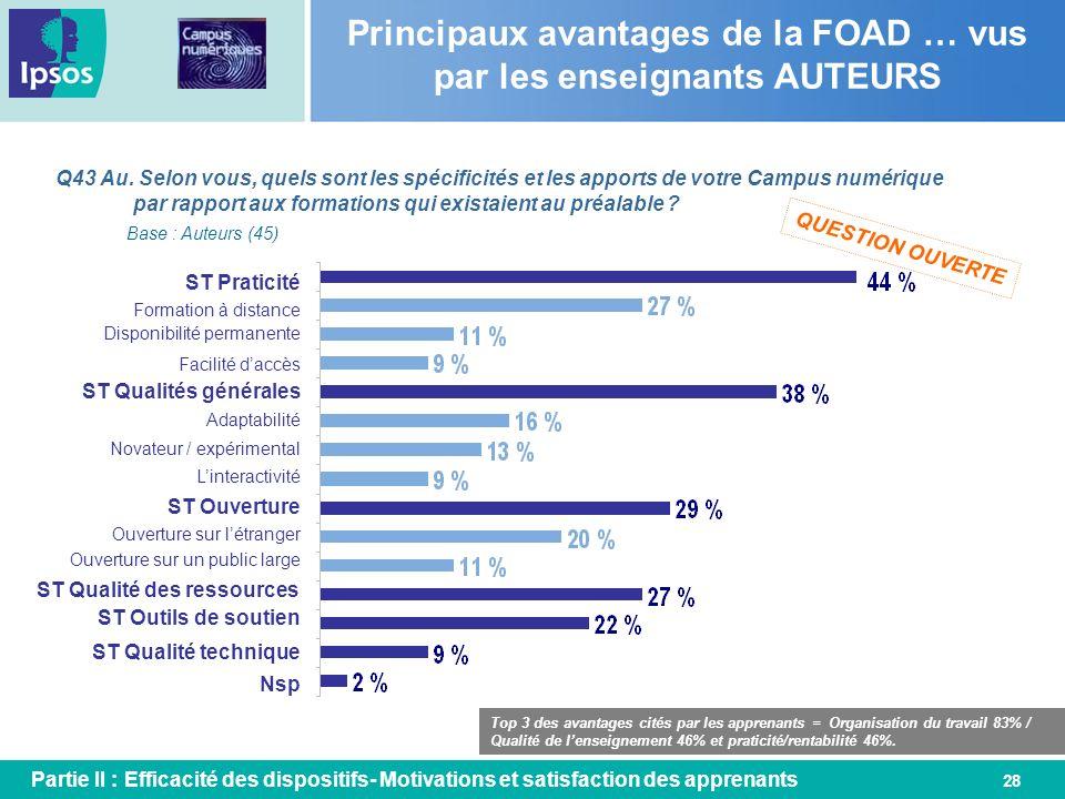 Principaux avantages de la FOAD … vus par les enseignants AUTEURS
