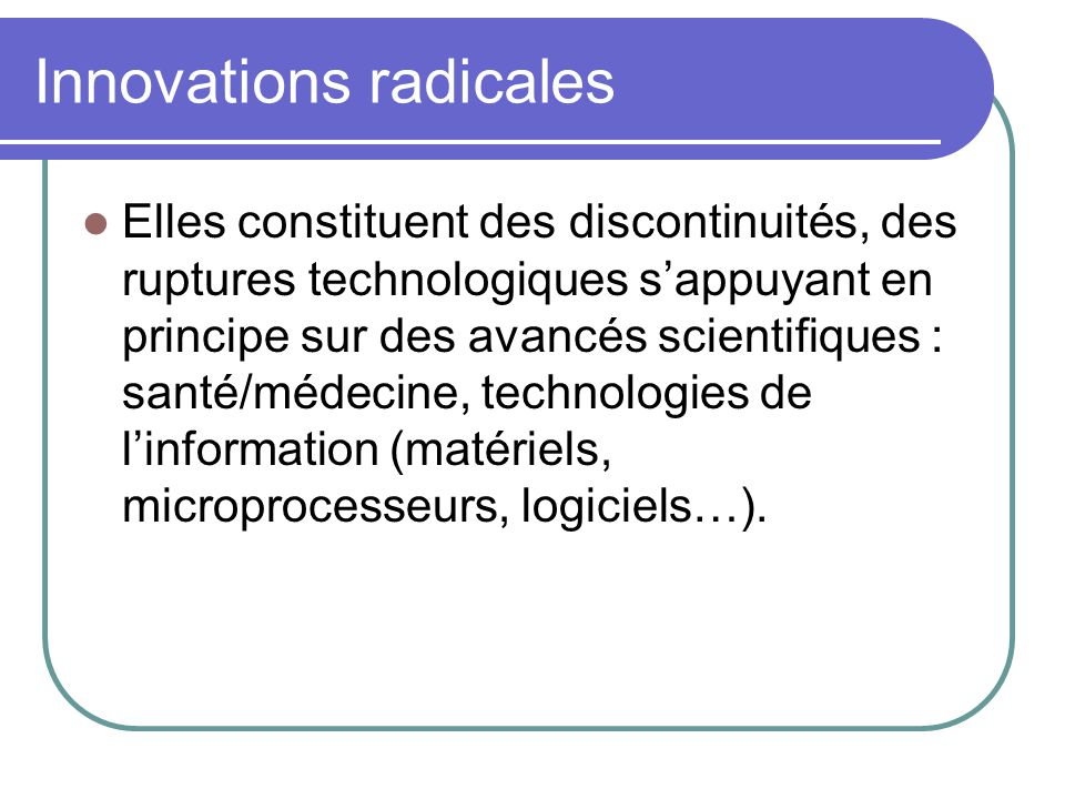 Innovations radicales