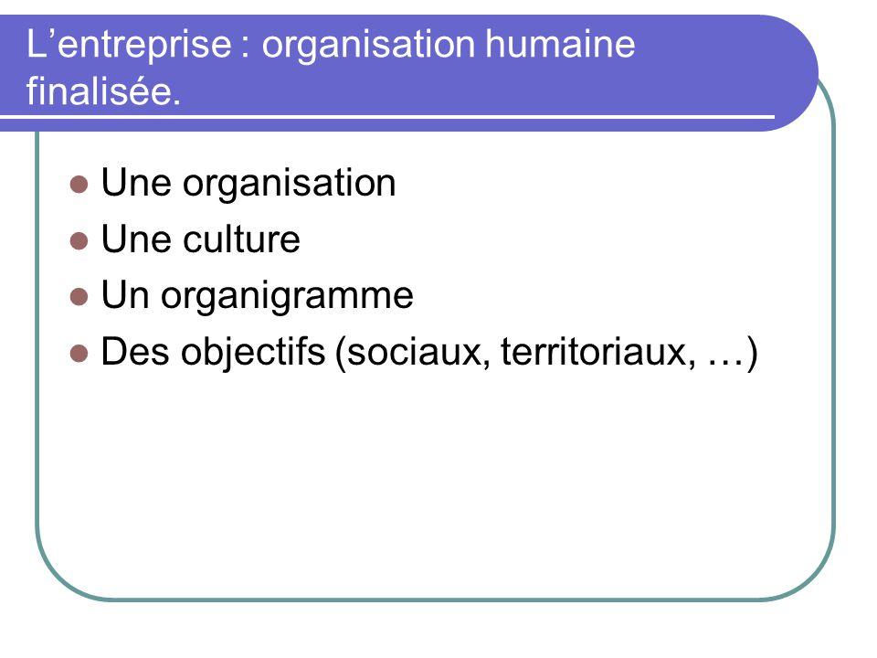 L'entreprise : organisation humaine finalisée.