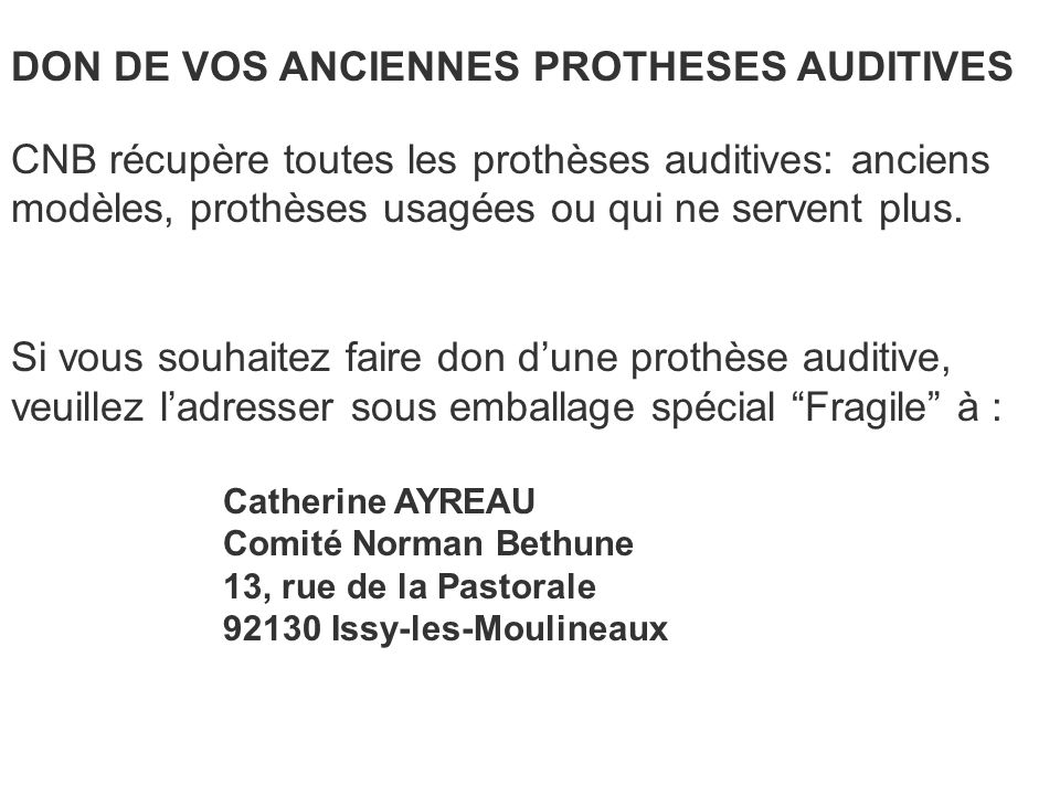DON DE VOS ANCIENNES PROTHESES AUDITIVES