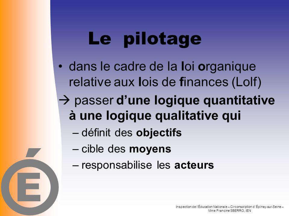 E Le pilotage. dans le cadre de la loi organique relative aux lois de finances (Lolf)