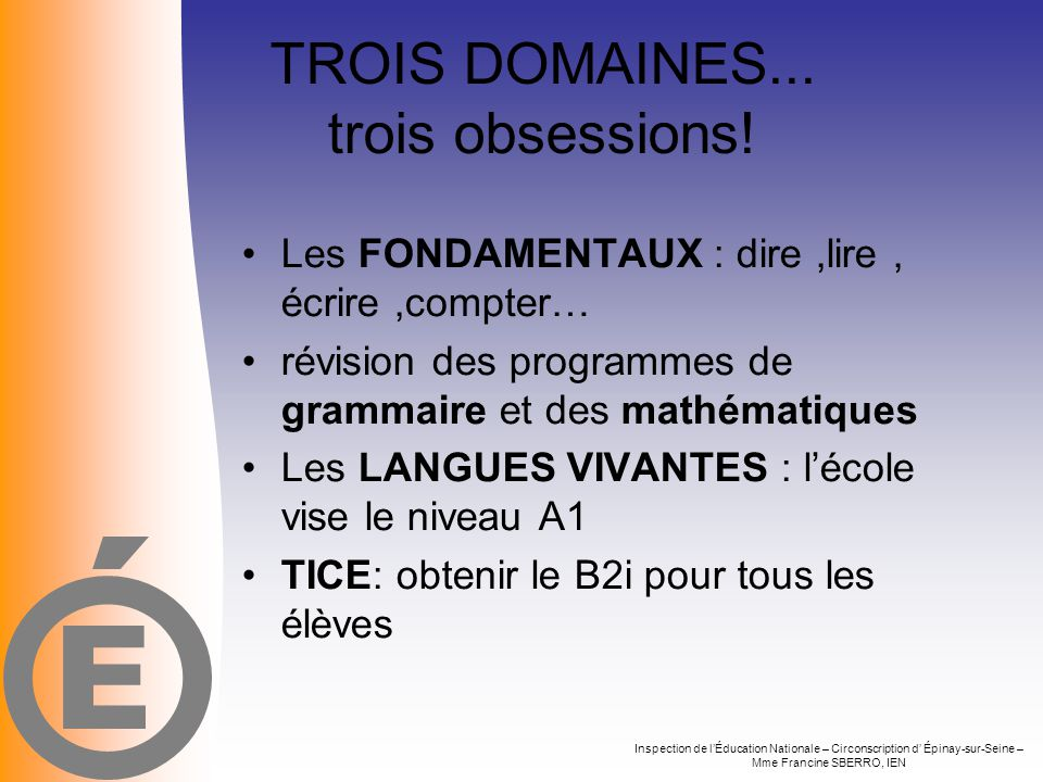 TROIS DOMAINES... trois obsessions!