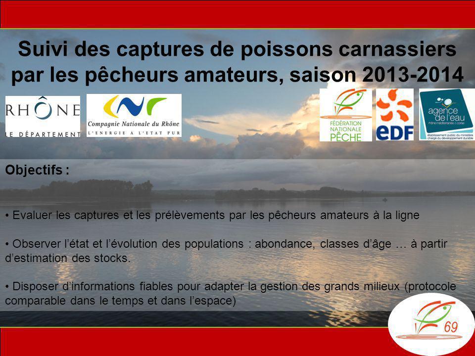 Suivi des captures de poissons carnassiers par les pêcheurs amateurs, saison 2013-2014