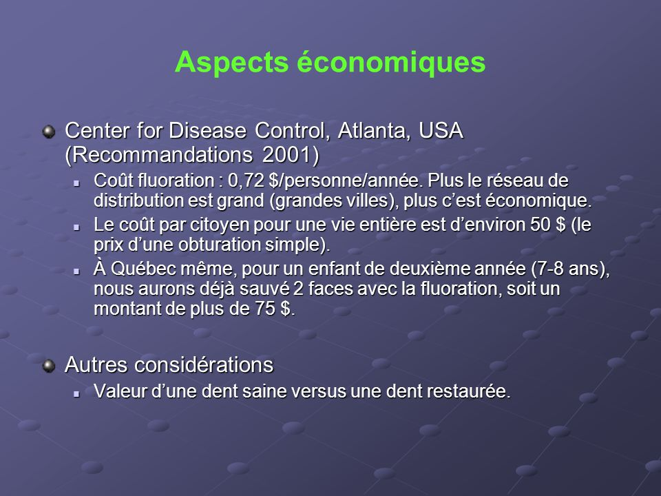 Aspects économiques Center for Disease Control, Atlanta, USA (Recommandations 2001)