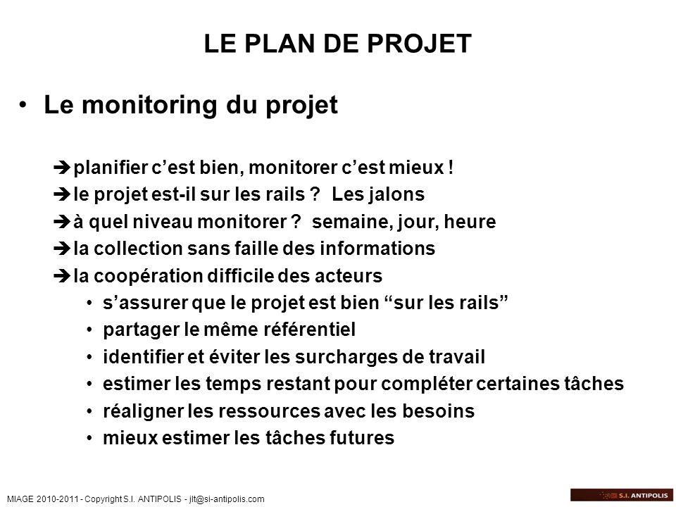 Le monitoring du projet