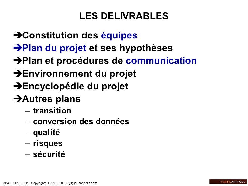 Constitution des équipes Plan du projet et ses hypothèses