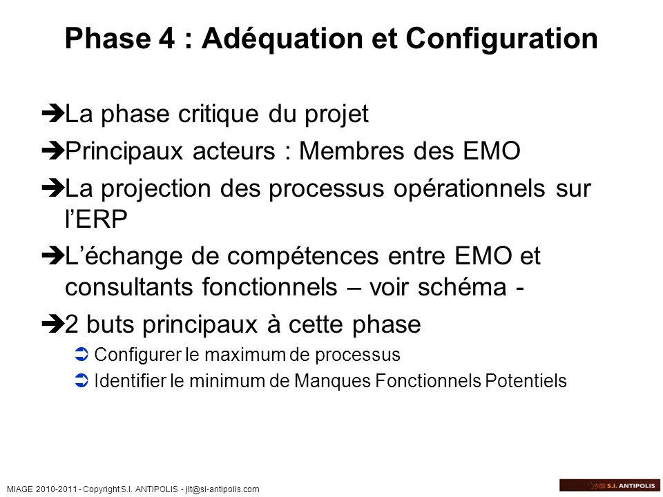 Phase 4 : Adéquation et Configuration