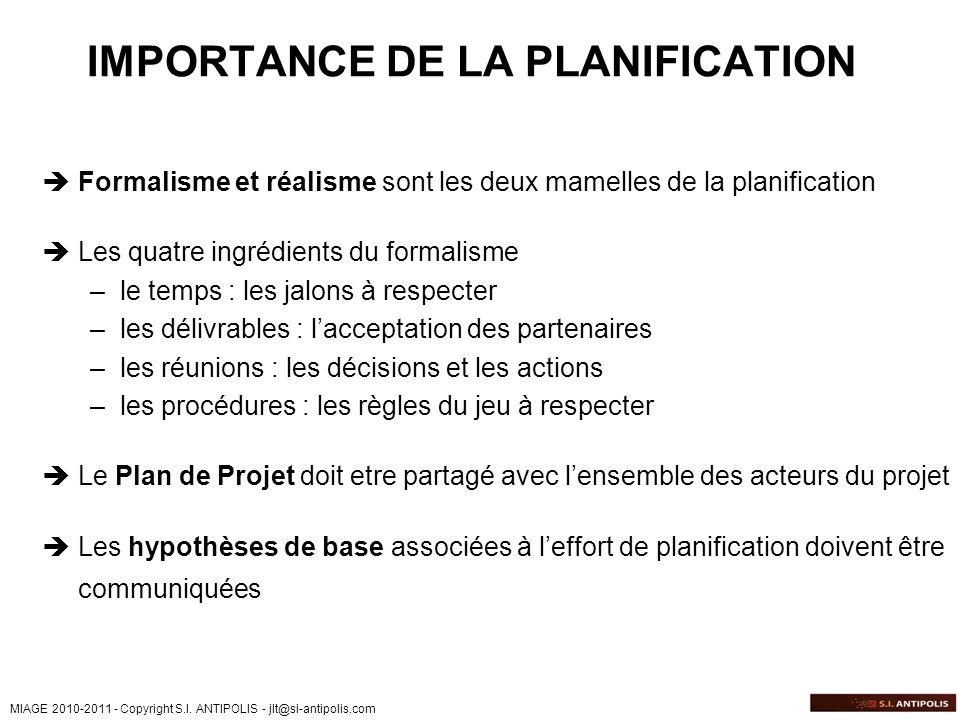 IMPORTANCE DE LA PLANIFICATION