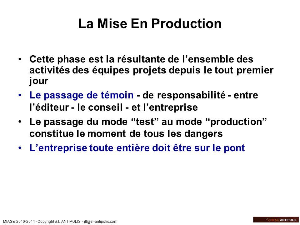 La Mise En ProductionCette phase est la résultante de l'ensemble des activités des équipes projets depuis le tout premier jour.