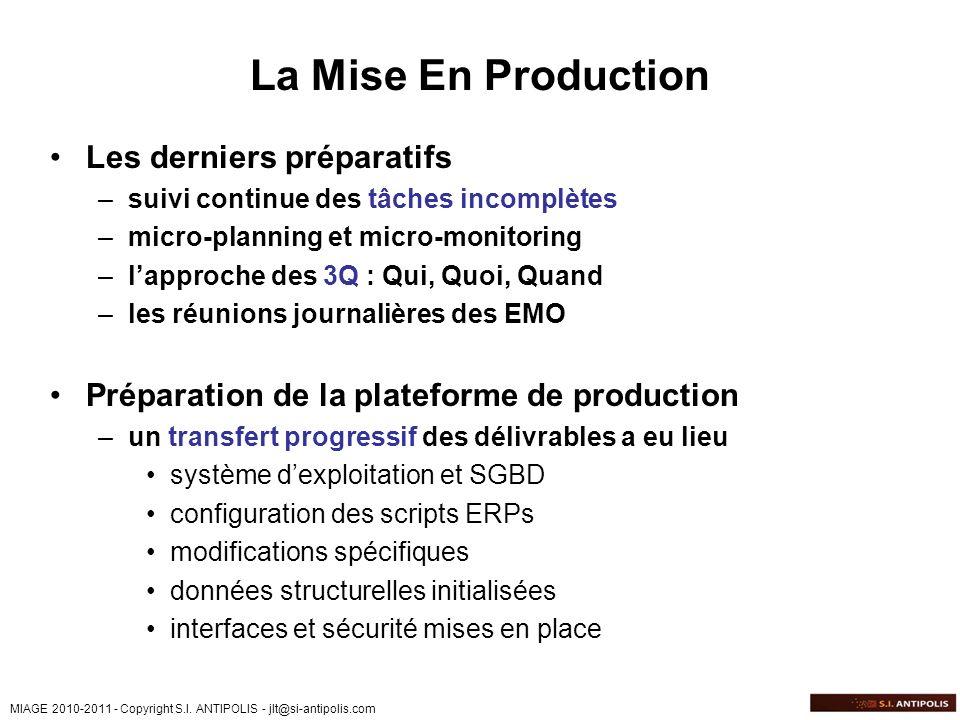La Mise En Production Les derniers préparatifs