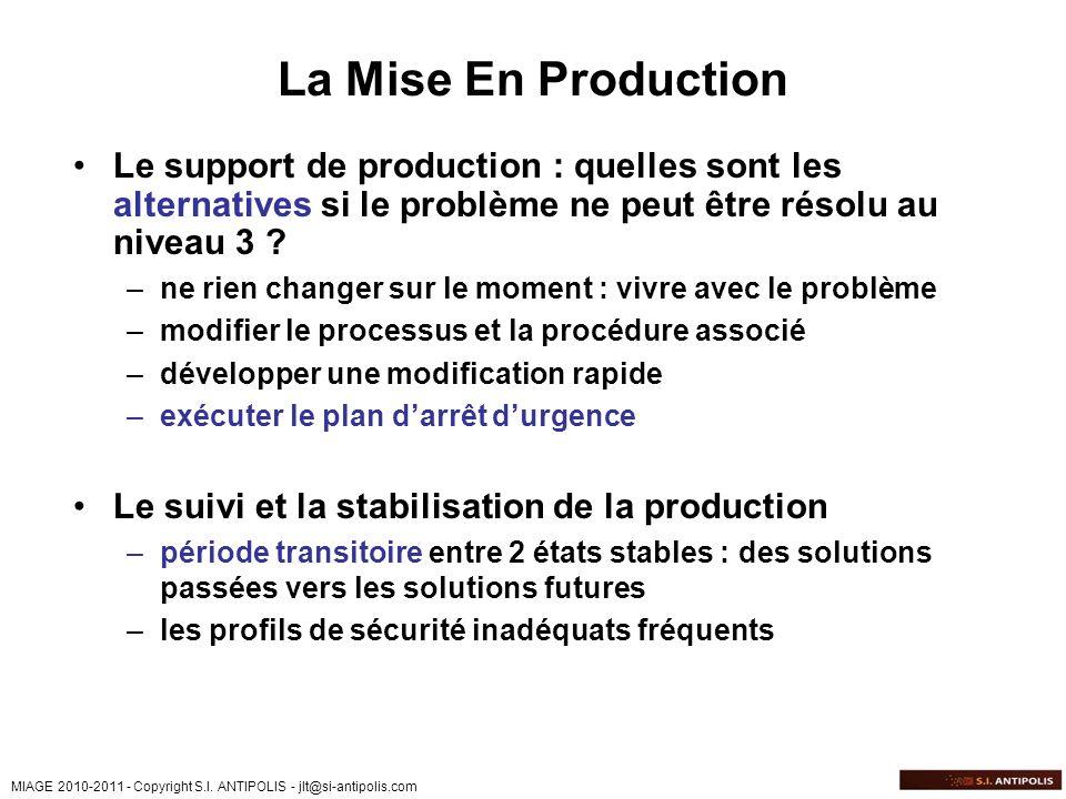 La Mise En Production Le support de production : quelles sont les alternatives si le problème ne peut être résolu au niveau 3