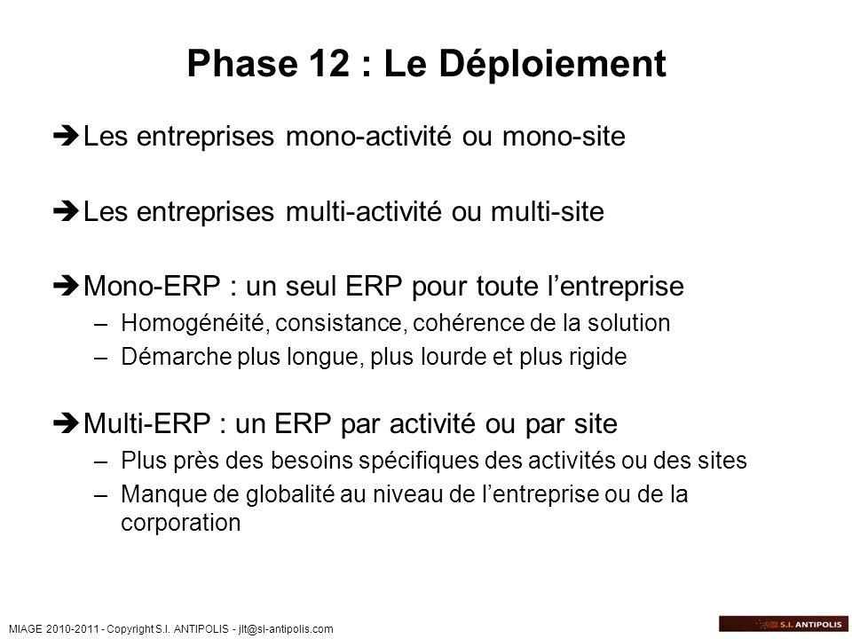 Phase 12 : Le Déploiement Les entreprises mono-activité ou mono-site
