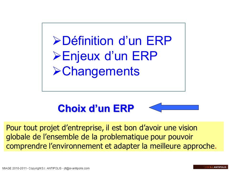 Définition d'un ERP Enjeux d'un ERP Changements Choix d'un ERP