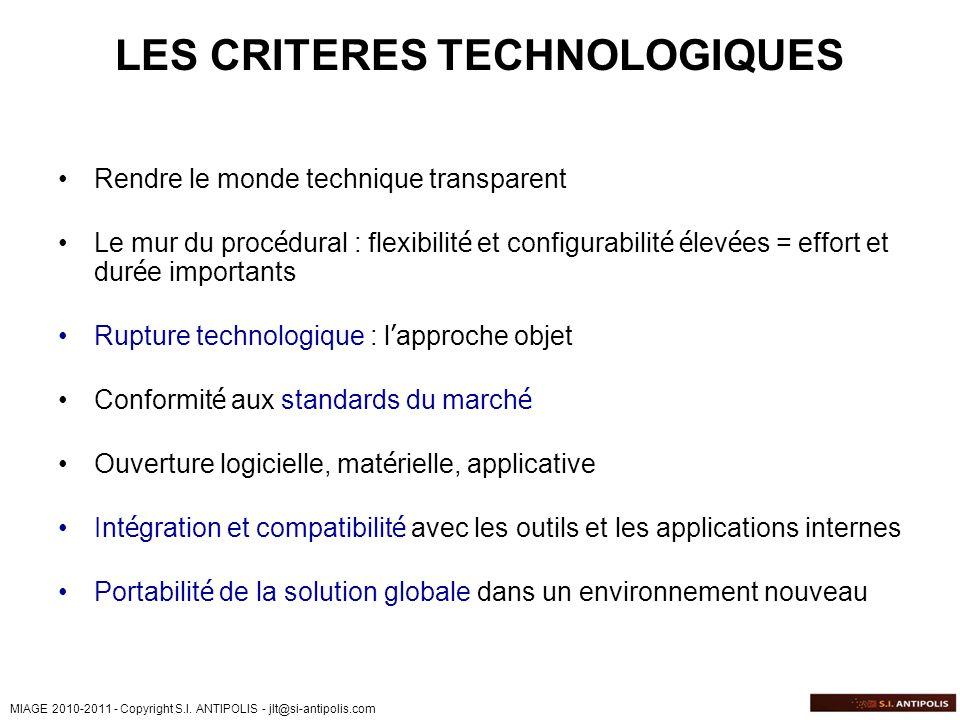 LES CRITERES TECHNOLOGIQUES