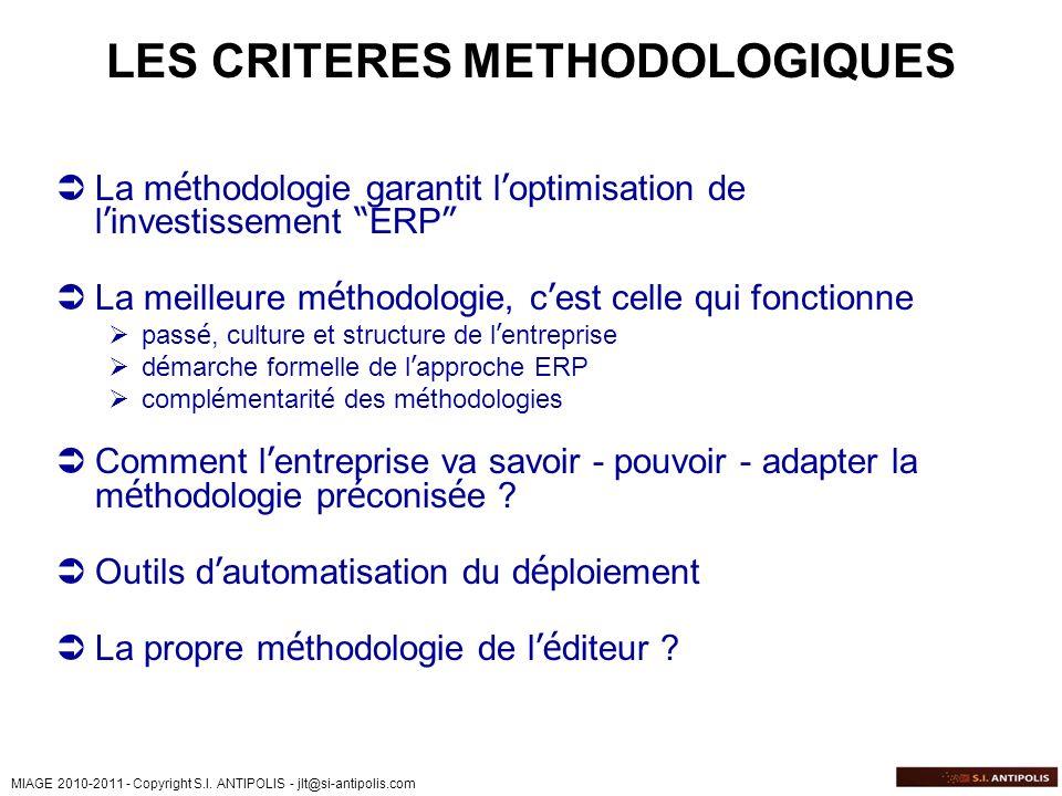 LES CRITERES METHODOLOGIQUES