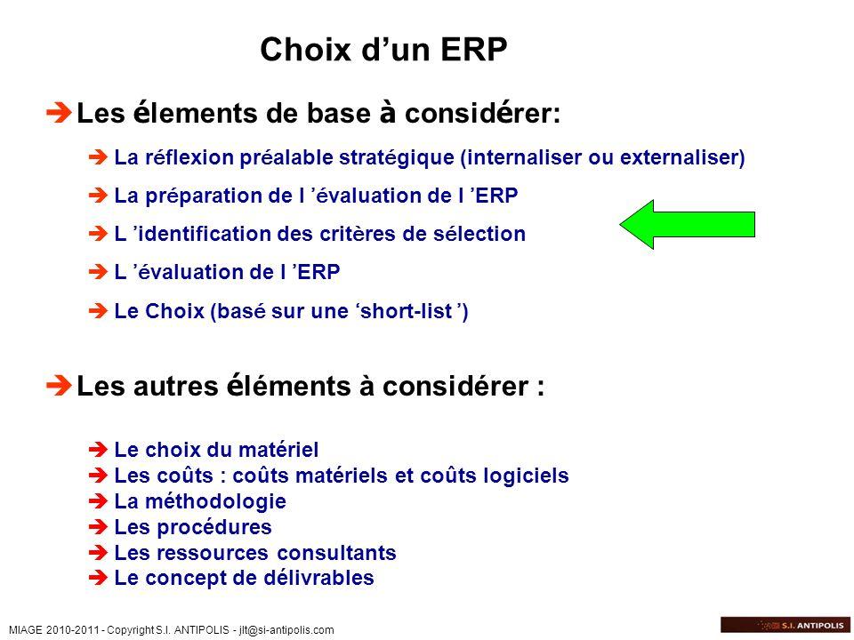 Choix d'un ERP Les élements de base à considérer: