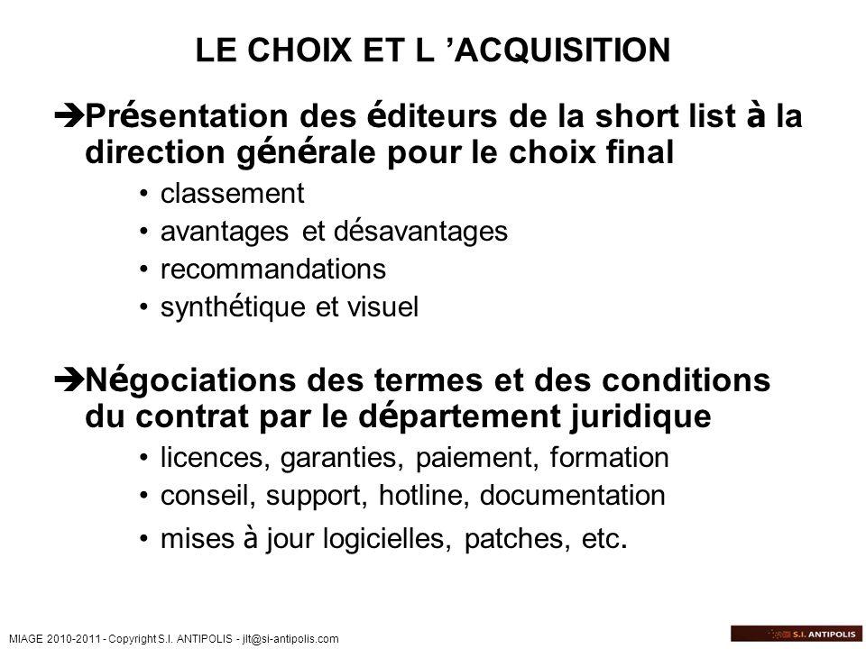 LE CHOIX ET L 'ACQUISITION