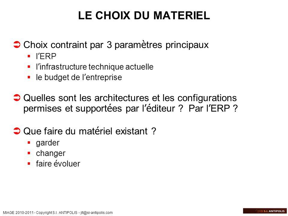 LE CHOIX DU MATERIEL Choix contraint par 3 paramètres principaux