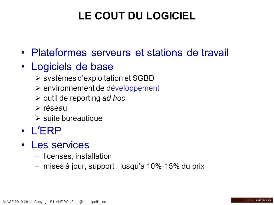 Plateformes serveurs et stations de travail Logiciels de base