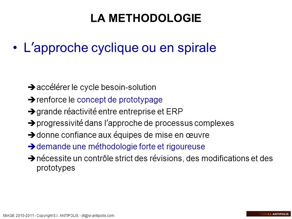 L'approche cyclique ou en spirale