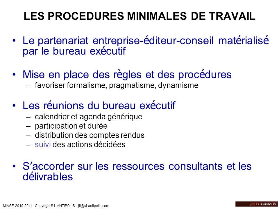 LES PROCEDURES MINIMALES DE TRAVAIL