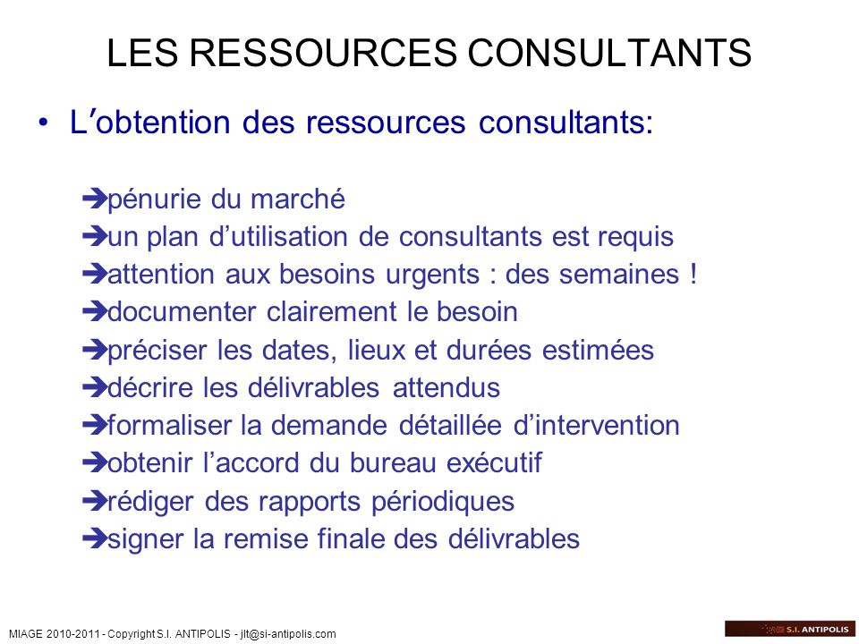 LES RESSOURCES CONSULTANTS