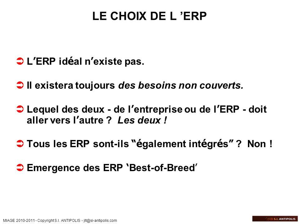LE CHOIX DE L 'ERP L'ERP idéal n'existe pas.