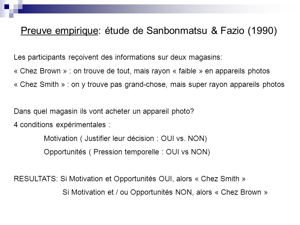 Preuve empirique: étude de Sanbonmatsu & Fazio (1990)